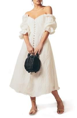 Cult Gaia Simona Off the Shoulder Seersucker Midi Dress