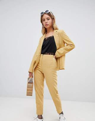 Wild Honey zip front pants in check two-piece