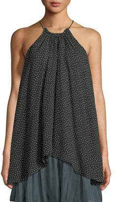 Halston Dot-Print Ruched-Neck Flowy Silk Camisole