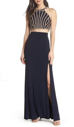 Xscape Evenings Beaded Top Two-Piece Dress