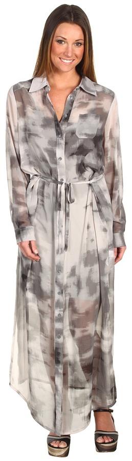 Kensie L/S Maxi Shirtdress (Dark Storm Multi) - Apparel