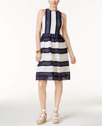 MICHAEL Michael Kors Cotton Eyelet-Lace Fit & Flare Dress $250 thestylecure.com