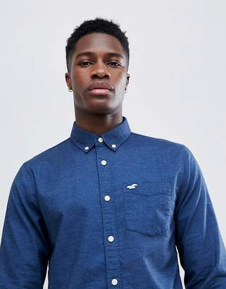 Hollister Oxford Icon Seagull Logo Slim Fit Shirt in Navy