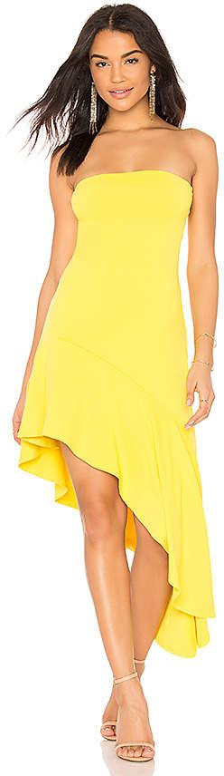 Slit Hem Strapless Dress