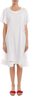 Simone Rocha Short-Sleeve Tulle-Overlay T-Shirt Dress