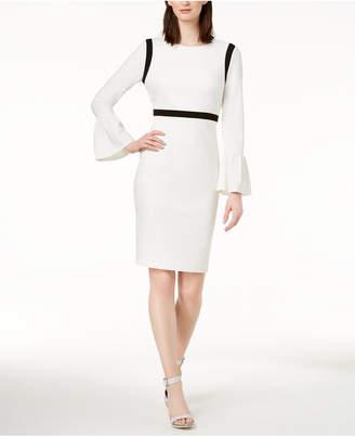 Calvin Klein Color-blocked Bell-Sleeve Sheath Dress