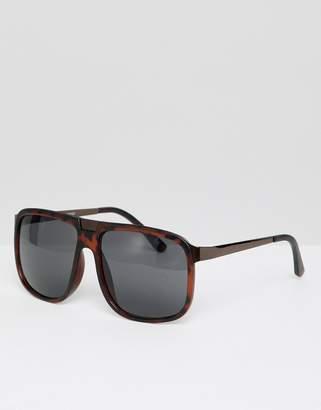 9e3ea5f2bb Asos Design DESIGN navigator sunglasses in tort with smoke lens