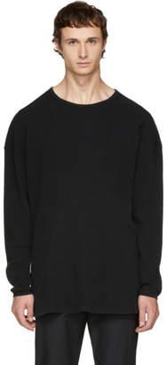 Undecorated Man Black Long Sleeve Oversized Waffle T-Shirt