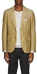 Pal Zileri MEN'S HERRINGBONE LINEN-BLEND TWO-BUTTON SPORTCOAT-OLIVE SIZE 36 R