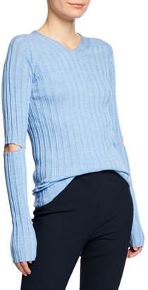 Helmut Lang Ribbed V-Neck Sweater with Slash Details