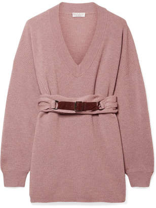 Brunello Cucinelli Belted Ribbed Cashmere Sweater - Antique rose