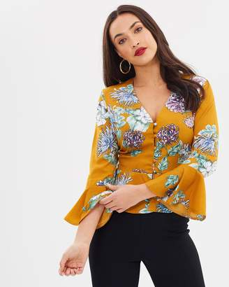 Missguided Satin Floral Button Down Top
