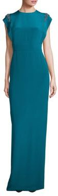 Theia Cap Sleeve Beaded Shoulder Gown $895 thestylecure.com