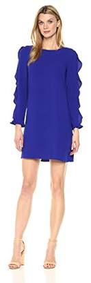 London Times Women's Long Sleeve Round Neck Crepe Shift Dress w. Ruffle
