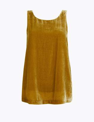 M&S CollectionMarks and Spencer Velvet Round Neck Sleeveless Shell Top