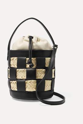 Hereu HEREU - Galeda Mini Woven Leather, Raffia And Canvas Bucket Bag - Black