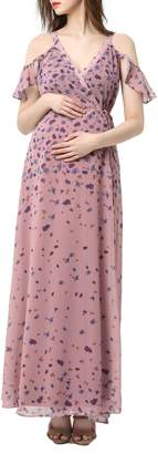 Kimi and Kai Catalina Cold Shoulder Wrap Maxi Maternity Dress