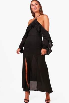 boohoo Petite Pleated Ruffle Sleeve Split Front Midi Dress