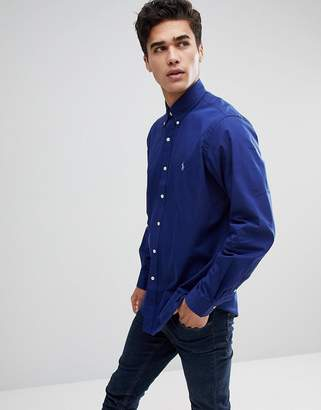 Polo Ralph Lauren Poplin Button Down Collar Shirt Custom Regular Fit Polo Player In Dark Blue