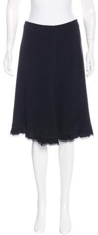 prada Prada Knee-Length Lace-Trimmed Skirt