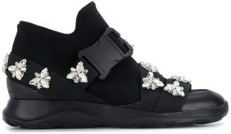 Christopher Kane safety buckle hi-top sneakers with crystals