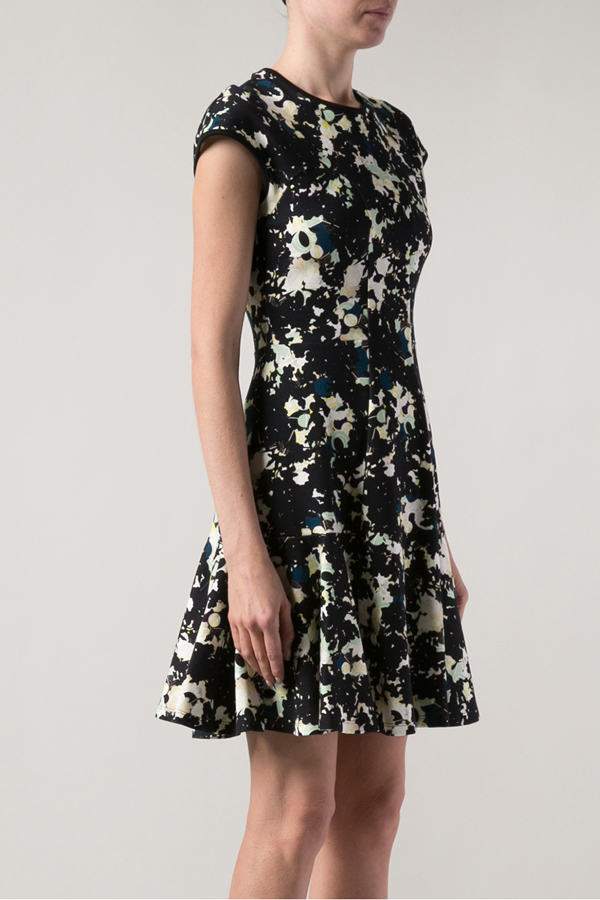 Erdem Fitted Cap Sleeve Flare Dress