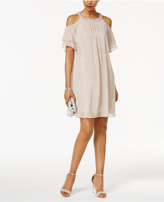 Jessica Howard Embellished Cold-Shoulder Shift Dress $119 thestylecure.com