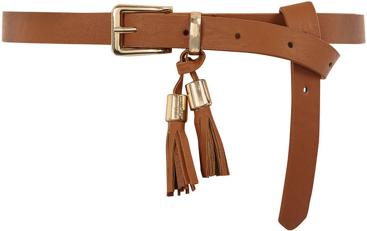 Tan two tassel skinny belt