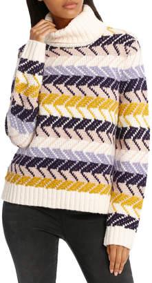 Sweater Fancy Stripe Roll Neck