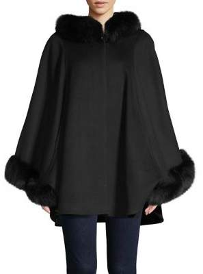 Sofia Cashmere Fox-Fur Trim Hooded Cape