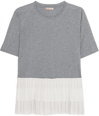 Marni - Cotton-jersey And Tiered Pleated Poplin T-shirt - Gray