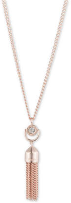 "DKNY Rose Gold-Tone Crystal Tassel Long Pendant Necklace, 36"" + 3"" extender"