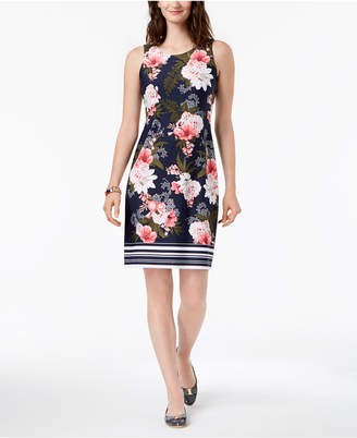 Charter Club Petite Printed Striped-Hem Shift Dress, Created for Macy's