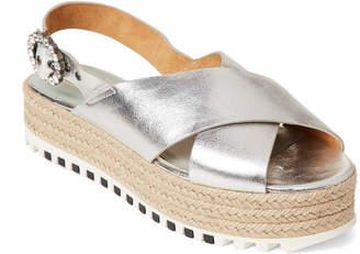 Marc Jacobs Silver Beverley Flatform Espadrille Sandals