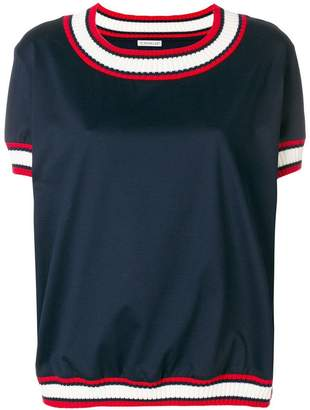 Moncler contrast-trim short-sleeve sweater