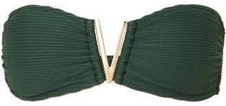 Heidi Klein Polynesia Embellished Ribbed Bandeau Bikini Top - Army green