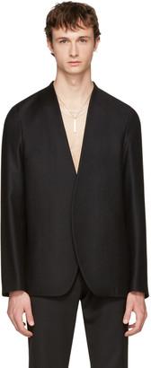 Maison Margiela Black Flannel No Lapel Blazer $995 thestylecure.com