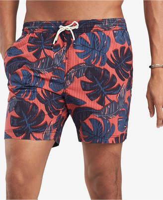"Tommy Hilfiger Men's 6.5"" Glover Stretch Palm-Print Seersucker Swim Trunks, Created for Macy's"