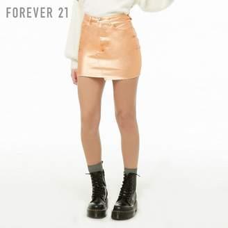 Forever 21 (フォーエバー 21) - Forever 21 メタリックデニムミニスカート