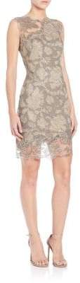 Tadashi Shoji Illusion-Neck Lace Mini Dress