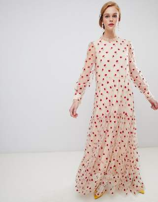Sister Jane long sleeve smock dress with delicate rose embroidery