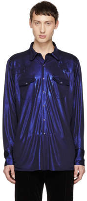 Kozaburo Navy Classic Fit Lame Western Shirt