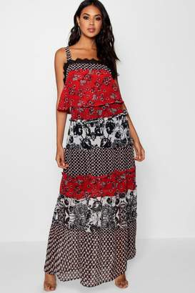 boohoo Square Neck Tierred Maxi Dress
