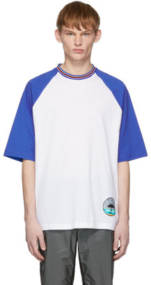 Prada White and Blue Graphic T-Shirt