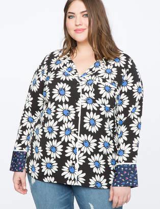 ELOQUII Contrast Print Pajama Top