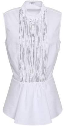 Brunello Cucinelli Bead-embellished Shirred Cotton-poplin Peplum Shirt