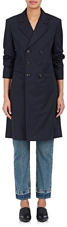 Balenciaga Balenciaga Women's Pinstriped Wool Double-Breasted Coat