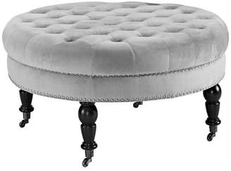 Linon Home Décor Products Isabelle Gray Velvet Round Tufted Ottoman