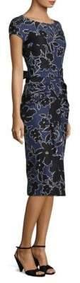 Michael Kors Floral Dupioni Silk Sarong Dress