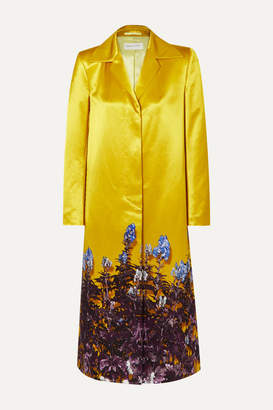 Dries Van Noten Rye Floral-print Cotton-blend Satin Coat - Yellow